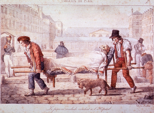 <p>Exterior view framed by buildings:  Two men are transporting a sick person on a stretcher; a dog accompanies its master.  People are standing in background.</p>