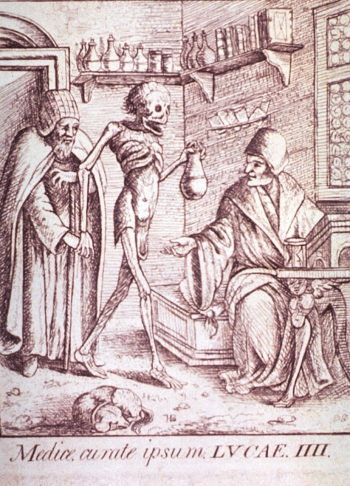 <p>Interior view: Death is carrying urine flask and leading an old man by the hand; sitting at a small table is a young man with outstretched arm to receive the flask. On a shelf in the background are several bottles and books.</p>