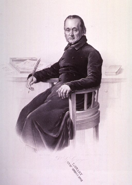 <p>Three-quarter length, seated, left pose, full face; holding quill pen.</p>