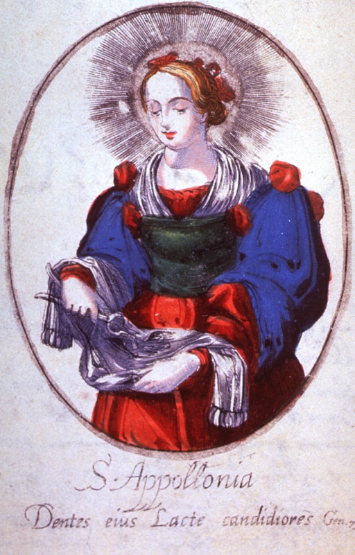 <p>Three-quarter length, standing, left pose, full face; holding pincers and a piece of cloth on which she is dropping teeth; in oval.</p>