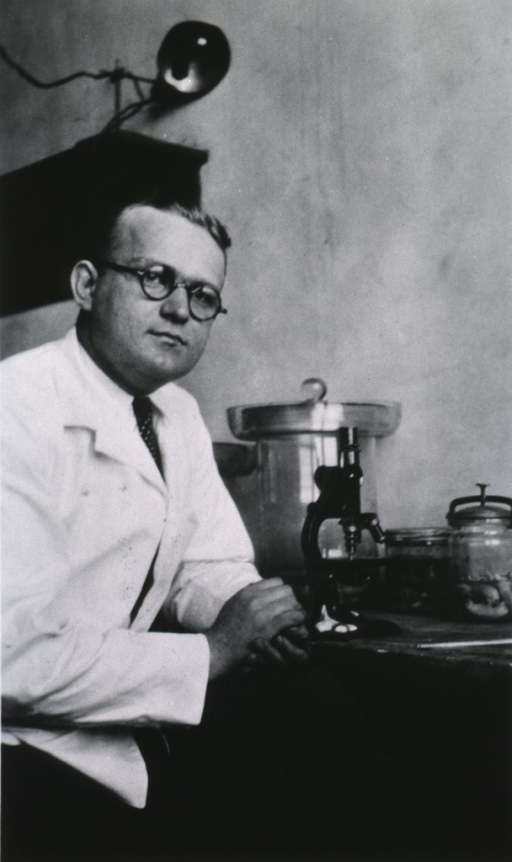 <p>Three quarters length, seated at microscope in laboratory.</p>