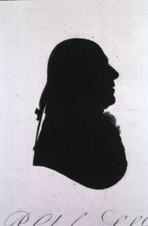 <p>Silhouette, right profile.</p>