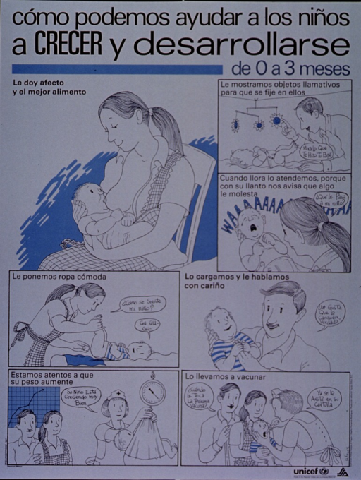 <p>White poster with black lettering.  Title at top of poster.  Poster is a series of illustrations in which a family attends to its newborn.  Scenes include breastfeeding, playing with a mobile, holding the crying baby, changing the baby, holding and talking to the baby, checking the baby's weight, and getting needed vaccines.  UNICEF and health agency logo in lower right corner.</p>