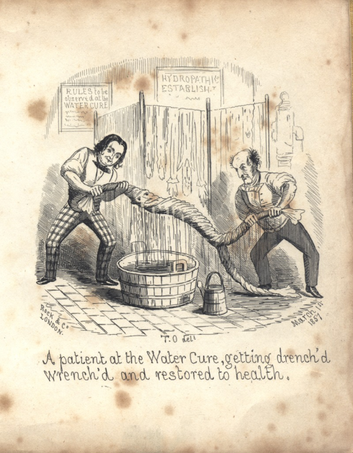 <p>Two men on are wringing a patient like a water sheet over a barrel.  In the foreground is a watering can; in the background are signs: Rules to be observed at the Water Cure; and Hydropathic establishment.</p>