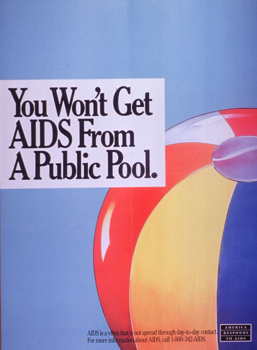 <p>Predominantly light blue poster with black lettering.  Title near upper left corner.  Visual image is an illustration of a beach ball.  Caption and note at bottom of poster.</p>