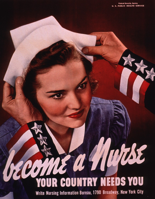 <p>Multicolor poster with white lettering.  Some publisher information in upper right corner.  Visual image is a color photo reproduction featuring a young woman being fitted with a nurse's cap.  The cap is being placed on her head by a man who is mostly unseen, except for his hands and forearms; his sleeves bear stars and stripes.  Title superimposed on lower portion of photo.  Additional text urges writing to the Nursing Information Bureau.  Poster number and additional publisher information at bottom of poster.</p>