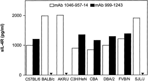 Comparison of sIL-4R ELISAs applying rat or mouse mAbs.  Sandwich ELISAs were performed with either the rat mAb 1046-957-14  (white bars) or the mouse mAb 999-1243 (black bars) coupled to microtiter  plates. Spleen cells of the indicated mouse strains were cultured for 48 h  in the presence of 7.5 μg/ml Con A and the supernatants were analyzed  in the ELISAs. Bound sIL-4R was detected with affinity–purified polyclonal IL-4R–specific rabbit Abs followed by donkey anti–rabbit Ig coupled to alkaline phosphatase.