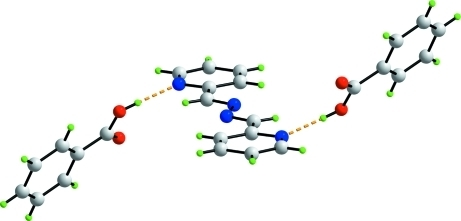 The three molecule aggregate in (I) highlighting the extended chair conformation. The O—H···N hydrogen bonds are shown as orange dashed lines.