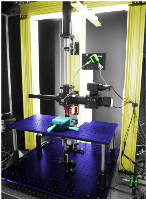 Complete stage setup.This color-coded image shows the main components of our microscope stage. The gantry is constructed out of ThorLabs XT95 rails (yellow). The objective is mounted on a linear translator (red) at the gantry's center. A 24′′ by 24′′ breadboard forms the X/Y stage (1. purple, ThorLabs PBG11105). A raised sub-stage (2. purple, ThorLabs MB1224) brings the specimen up to the level of the objective which is about 13′′ above the surface of the air table. The specimen is mounted on an independently movable platform (cyan), allowing its position to be manipulated manually with respect to the rest of the stage. Our motorization hardware (motors, couplers, and flexible shafts) are colored green.