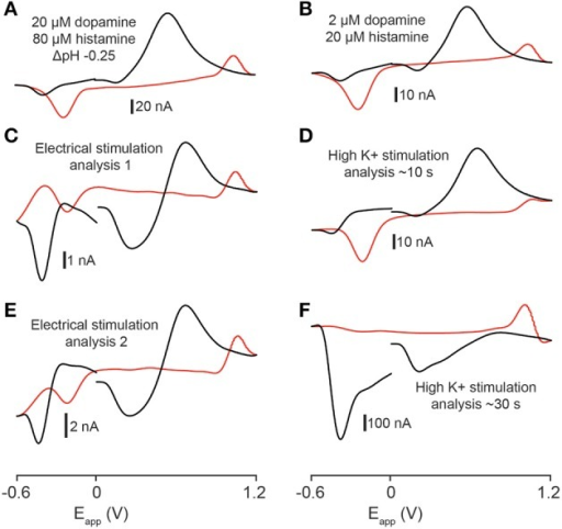 Statistical analysis of stimulated release. (A) Template voltammogram resulting from exposing an electrode in a flow cell to 2 μM dopamine and 80 μM histamine in the presence of an acidic pH shift (−0.25 pH units, pH 7.4 → pH 7.15). (B) Template voltammogram resulting from exposing an electrode in a flow cell to 2 μM dopamine and 20 μM histamine. (C–F) Cyclic voltammograms obtained by either electrical- (C,E) or high K+ aCSF stimulation (D,F) of the telencephalon. The r2-value for (A,C) is 0.846; the r2-value for (A,E) is 0.833; the r2-value for (B,D) is 0.857 and the r2-value for (B,F) is 0.416.