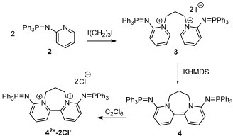 Synthesis of iminophosphorano-substituted bispyridinylidene 4, and its oxidation to the corresponding dichloride 42+-2 Cl−.