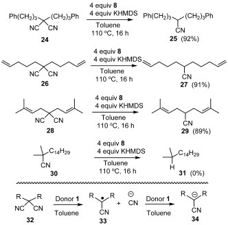 The reduction of malononitriles by in situ generated 1.
