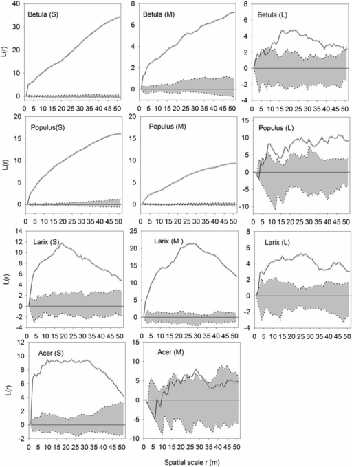 Univariate analyses of trees of different DBH classes.Univariate functions L(r) (dotted lines) are shown with the simulation intervals (shadow areas). L: large (DBH = 1-15cm); M: middle (DBH = 15-30cm); S: small (DBH> = 30cm).