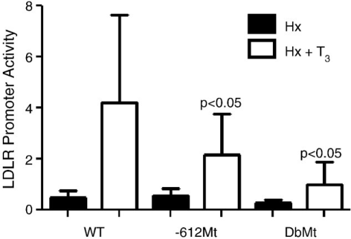 In vivo contributions of the − 612 and − 156 TREs to the T3-dependent activation of the LDLR promoter. For this experiment, 10 μg of the WT, − 612Mt, and DbMt LDLR promoter constructs were electroporated into the livers of Hx and Hx + T3 rats. Two doses of T3 were given 72 and 24 hours before electroporation as described under Materials and methods. Lysate preparation and luciferase assays were carried out. The data are presented as mean LDLR promoter activity ± SEM for at least four electroporation sites per each treatment condition. p Values were obtained by comparing to the WT construct.