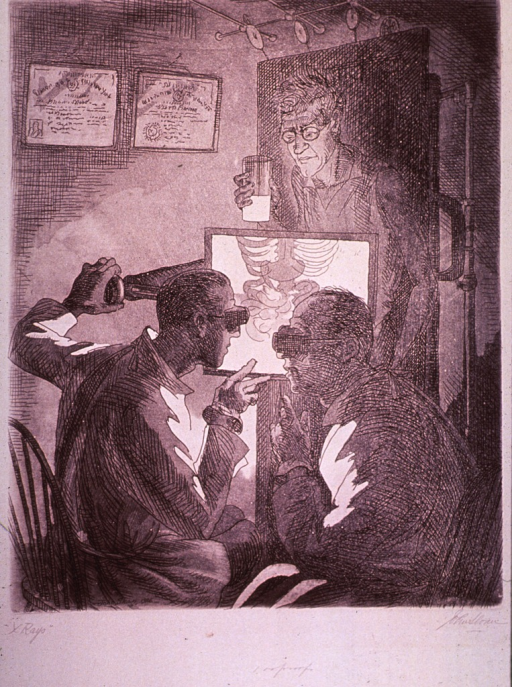 <p>A self-portrait of the artist holding a cup of barium and undergoing an upper gastrointestinal  fluoroscopic study under the care of  two radiologists.</p>