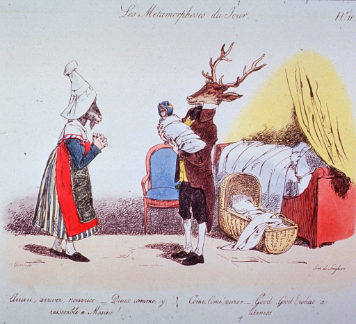 <p>A deer (father or physician?) stands holding an infant (a bird) swathed in cloth; a goat (nurse) stands facing the deer; a bed, chair, and bassinet are to the right, in the background.</p>