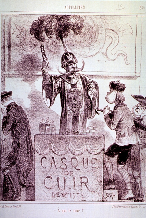 <p>A Prussian dentist stands at a podium waiting for his next patient.</p>