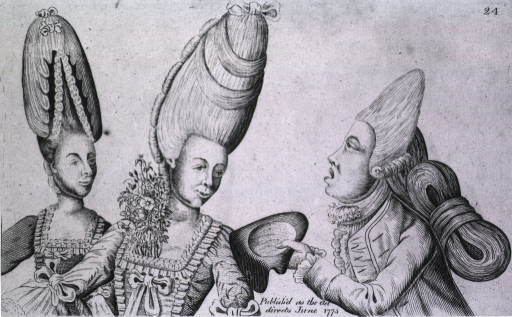 <p>Two women and a man compare beehive hair styles.</p>