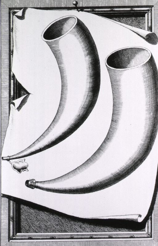 <p>A pair of cupping horns with stoppers.</p>