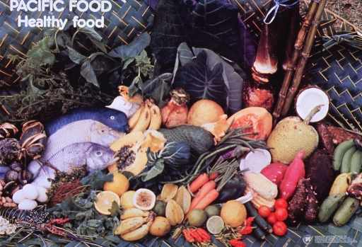<p>Multicolor poster with white lettering.  Title in upper left corner of poster.  Poster is a reproduction of a color photo showing an array of foods indigenous to the islands of the South Pacific, including seafood, nuts, eggs, fruits, vegetables, and starchy roots.  Publisher logo and sponsor information in lower right corner.</p>