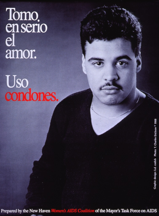 <p>Predominantly b&amp;w poster with white and red lettering.  Title in upper left corner.  Visual image is a reproduction of a b&amp;w photo of a man, apparently of Hispanic descent, looking directly at the viewer.  Publisher information at bottom of poster.</p>