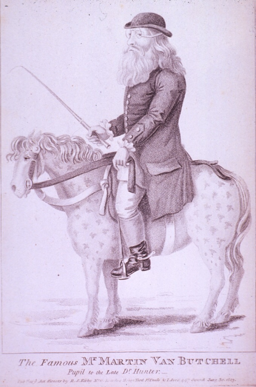 <p>Showing Butchell on horseback, left profile.</p>