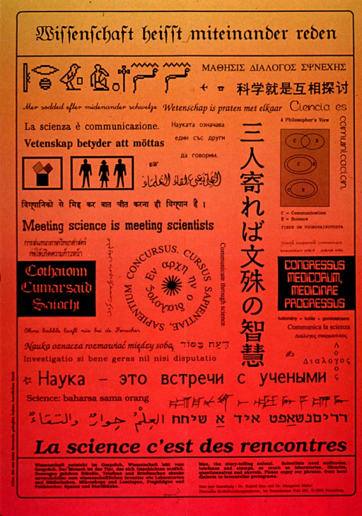 <p>Pink and yellow poster with black lettering.  Title at top of poster.  Poster features phrases in many languages, as well as hieroglyphs and pictograms conveying the relationship between science and communication.  Note text in German and English and publication information at bottom of poster.</p>