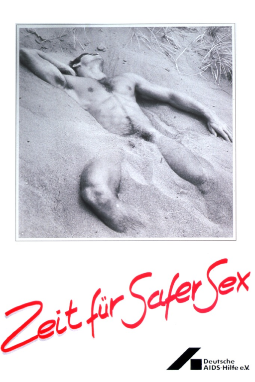 <p>A naked man is lying on the beach.  His right hand is behind his head.  Part of his body is covered with sand.</p>
