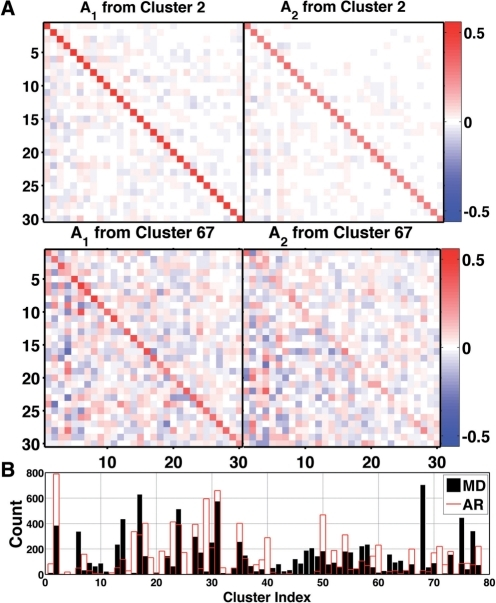 Representative transition matrices are highly diagonal: (A) A1 and A2 for the most populated cluster, cluster 2, which contained 29 108 structures or 5.84% of the entire 0.5 μs simulation. Cross correlations between QAA modes are highly reduced, yielding low off-diagonal elements. Distinctions between A1 and A2 indicate the constituent structures (from cluster 2) carried dynamic information across multiple frames. The lower two panels show less strongly diagonal transition matrices for a less populated cluster, 67, which contained 627 structures. Elements of A1 and A2 range from −0.84 to 0.72 over all clusters (−0.33 to 0.5597 over clusters 2 and 67). (B) Cluster memberships for MD training data (black) and AR-synthesized (red) ubiquitin conformations, 10 000 frames each.