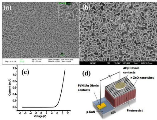 SEM image of ZnO nanotubes on p-GaN substrate. (a) before annealing, (b) after annealing, (c) typical I-V characteristics for the fabricated LEDs, and (d) The schematic illustration of the fabricated LEDs.