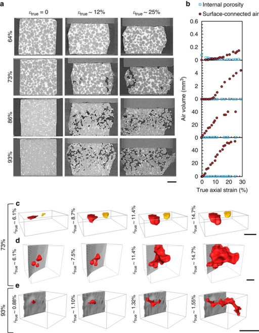 Uniaxial compression at 64, 73, 87 and 93% solid.(a) Transversal (xz) slices at increasing compressive axial strain (scale bar, 1 mm), (b) change in volume of internal voids and surface-connected voids with increasing strain and (c–e) 3D rendering of surface-connected meniscus development at 73 and 93% solid, respectively (scale bar, 300 μm).