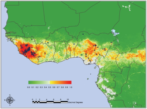 Mean predicted LF risk map from the Model 2 series developed by Fichet-Calvet and Rogers [7], with posterior probability color scale from 0.0 (no risk) to 1.0 (highest risk) shown at inset.Gray areas are areas either lacking suitable imagery (because of cloud contamination—coastal Nigeria and Cameroon) or that are so distant in environmental space that predictions were not possible. Used with permission.