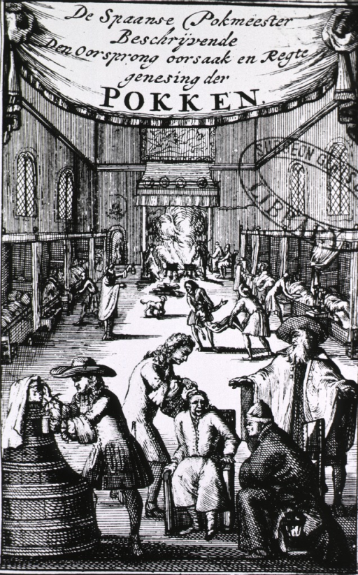 <p>Interior view: a hospital ward with beds lining both sides of the room, a large fireplace is at one end, and in the foreground specific treatments are being applied to syphilitic patients.</p>