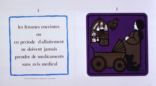 <p>White and purple poster with black lettering.  Poster consists of one print bearing the title and one print bearing an illustration.  The prints are similarly numbered, as if part of a series.  The illustration depicts a pregnant woman standing near a baby carriage and a teddy bear.  A bird cage filled with medications hangs above the carriage.  The cage is locked and a bird flies away with the key in its mouth.  Publisher information at bottom of print bearing the title.</p>