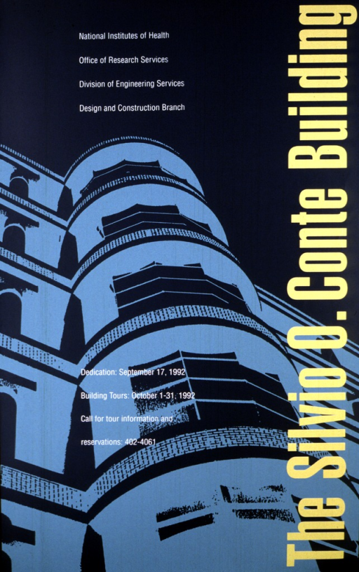 <p>The poster shows a portion of a building, viewed from the ground up.  The building is in light turquoise against a gray-blue background.  The title is along the right side of the poster in large yellow letters.  The date of the dedication of the building is given as Sept. 17, 1992, and other information regarding building tours, reservations, and a phone number for further information are given.</p>
