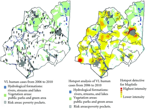 Map of VL human cases from 2006 to 2010 overlaying the maps of Vegetation (green areas and parks), Hydrographic (rivers, streams and lakes) and poor areas and social risk.