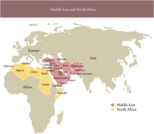 Map of the Middle East and North Africa MENA region Openi