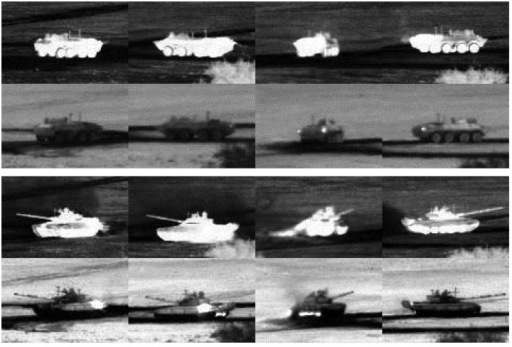 Examples of target signature variability from the Military Sensing Information Analysis Center (SENSIAC) ATR database [5]. The first and second rows show diurnal and nocturnal mid-wave IR (MWIR) images of a BTR70 personnel carrier, respectively. The third and fourth rows are diurnal and nocturnal images of a T72 main battle tank. Targets in each column are under the same view.