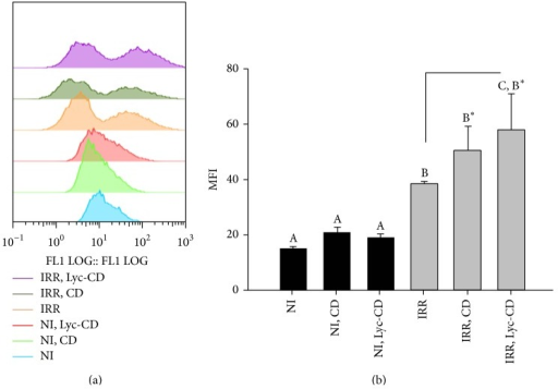 Intracellular ROS quantification: (a) FL1 histogram plots, showing the distribution of cell count versus DCF fluorescence, and (b) Mean Fluorescence Intensity (MFI) histograms results of HaCaT UV-B irradiated cells, IR (225 mJ/cm2), and nonirradiated cells (NI) exposed to 10 μM complexed lycopene (Lyc-CD) and to the respective controls labelled with DCF-DA. Statistical analysis: One-Way ANOVA with Multiple Pairwise Comparisons: medians with different letters are significantly different (P < 0.05).
