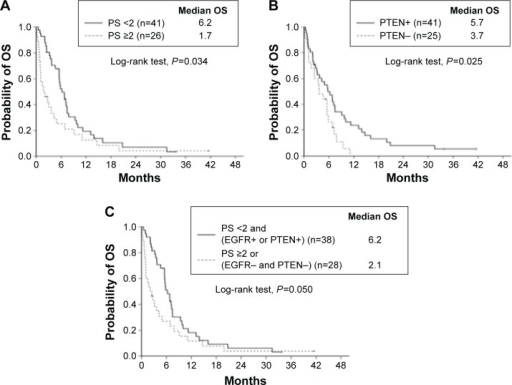 Overall survival curves of the two groups according to ECOG PS, PTEN and EGFR ID.Notes: (A) ECOG PS, (B) PTEN expression, and (C) the combined criteria of ECOG PS, EGFR ID expression, and PTEN expression in patients with advanced squamous cell lung cancer who were receiving gefitinib or erlotinib as second-line or higher therapy.Abbreviations: ECOG, Eastern Cooperative Oncology Group; ID, intracellular domain; OS, overall survival; PS, performance status.