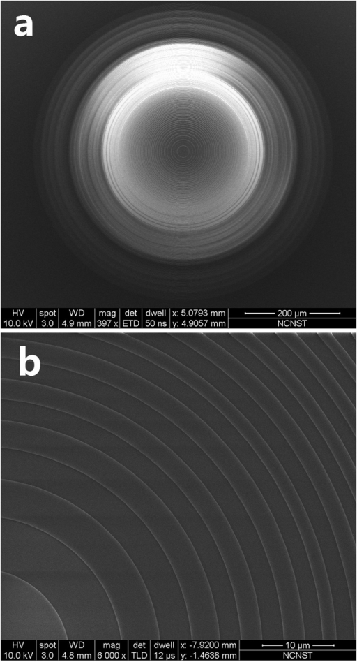 (a) The SEM images of the micro lens, and (b) the zoom-in of the lens central part.