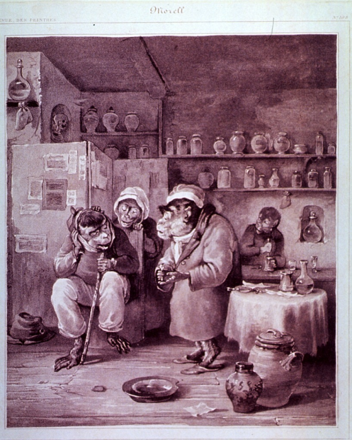 <p>Caricature:  A monkey with a toothache is sitting in a pharmacy; he is consulting with another monkey (possibly for a remedy).  A monkey stands behind his seat and another monkey works a pestal and mortar in the background.</p>