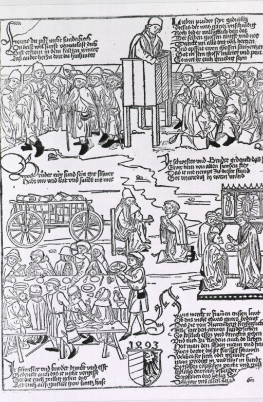 <p>Several vignettes showing religious aspects of treating leprosy patients.</p>