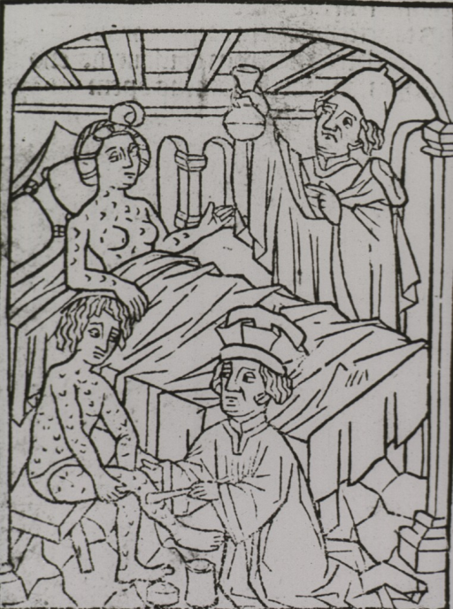 <p>A woman in bed and a man sitting on a stool are covered with lesions; a physician standing next to the bed is holding up a urine flask for analysis; another physician is applying a salve to the man's legs.</p>