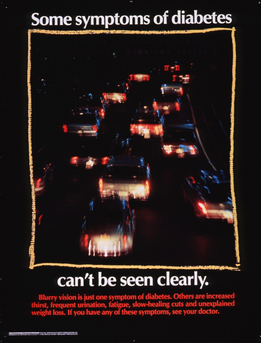<p>Black poster with white and red lettering.  Initial title words at top of poster.  Visual image is a reproduction of a color photo of freeway traffic at night.  Several of the cars appear blurry.  Remaining title words and caption below photo.  Publisher information in lower left corner.</p>