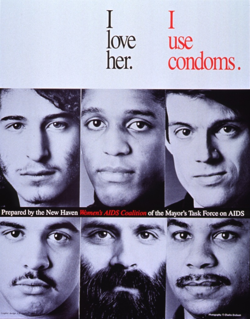 <p>Predominantly black and white poster with black, white, and red lettering.  Title at top of poster.  Visual image is a series of six close-up photos of the faces of men of varying racial and ethnic groups.  Publisher information near center of poster.</p>