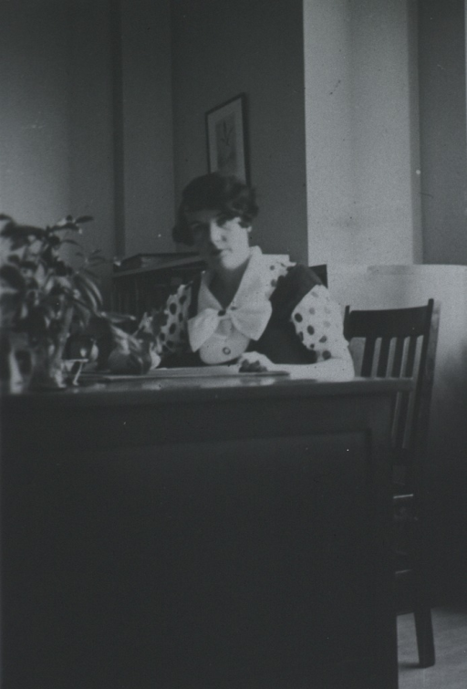 <p>Head and shoulders, seated behind desk.</p>