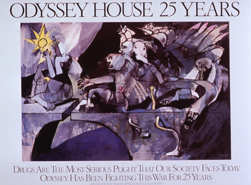 <p>Illustration is titled &quot;The Plight and the Promise&quot;.  Poster caption reads:  Drugs are the most serious plight that our society faces today.  Odyssey has been fighting this war for 25 years.</p>