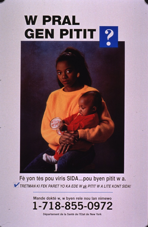 <p>White poster with black lettering, illustrated with a color photo reproduction of a young woman holding a baby. Publishing and contact information are at the bottom of the poster.</p>