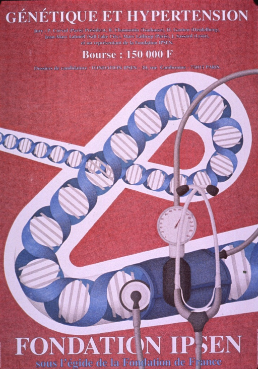 <p>Predominantly pale red poster with white and light blue lettering.  Title at top of poster.  Additional text below title announces the jury for a competition, amount of the prize, and address for applications.  Visual image is a slightly abstract illustration of a curling double helix that widens as it nears the bottom of the poster.  A blood pressure cuff is wrapped around the double helix at its widest point and a stethoscope is pressed against it as well, suggesting an arm during blood pressure measurement.  Publisher and sponsor information at bottom of poster.</p>
